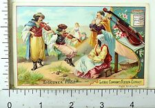 1880's European Dance & Song Lovely Scenes Liebig Victorian 6 Trade Card Set K76