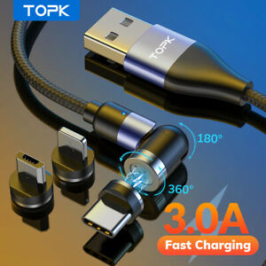 Topk 3A Fast Charging 540° Rotate Magnetic Data iPhone Cable Micro USB Type C