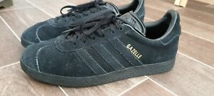 adidas gazelle trainers size 6 all black suede leather.
