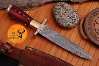 HAND FORGED DAMASCUS STEEL BOOT DAGGER KNIFE WITH BRASS & WOOD HANDLE AJ 982