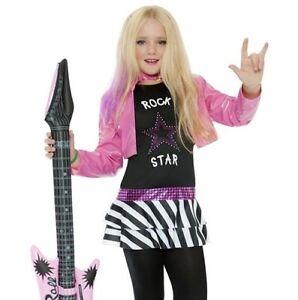 Childs Girls Fancy Dress Glam Rockstar Girl Costume Pink Pop Oufit by Smiffys