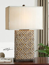 "NEW LARGE 31"" GOLDEN BRONZE CERAMIC TABLE LAMP SILVER BLACK ACCENTS MODERN LIGHT"