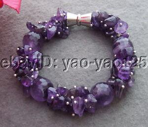 Purple Crystal Bracelet Item # B063 Magnetic Closure Lavender Purple Beaded bracelet