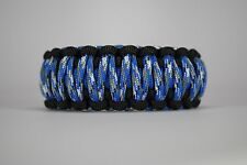 550 Paracord Survival Bracelet King Cobra Black/Blue/Blue Camo Camping Tactical