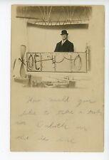 """""""Duluth Air Line"""" RPPC Hot Air Balloon """"Penny Arcade"""" Antique Studio Photo 1910s"""