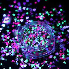 1g Fluorescent Nail Sequins Glitter Flakes Star Heart Paillette Manicure Tips