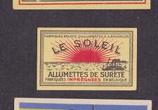 Ancienne  petite étiquette  allumettes Belgique  BN18728 Bateau Le Soleil