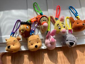 McDonalds Disney Winnie The Pooh Plush Keychain Stuffed Happy Meal Toys Lot Of 8
