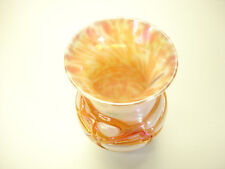 Old Vintage 1984 White & Orange Iridescent Threaded Vase A1 Very Beautiful LOOK