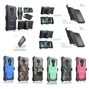 "for 6.2"" Motorola Moto G7 Power Kickstand Belt Clip Holster Rugged Combo Case"