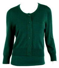 OSCAR DE LA RENTA P14 Hunter Green Cashmere Silk Knit Cardigan Twinset L