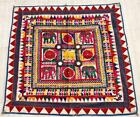 """38"""" x 38"""" Vintage Rabari Throw Embroidery Ethnic Tapestry Tribal Wall Hanging"""