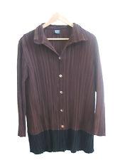 Size XL 16 KATHLEEN BERNEY brown pleated long sleeved designer top
