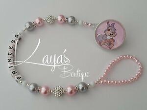 *Thumper Rabbit* Bling Pink Silver Shamballa Romany Dummy Clip Girl *Any Name*