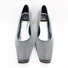 Stuart Weitzman Women's Size 7 B Silver Metallic Fabric Pump Dress Heel Shoes