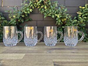 Vintage Crystal Mugs ~ Set Of 4 ~ Lead Crystal