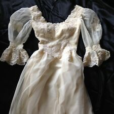 Vintage Pearl Lace Victorian Gown Wedding Dress Veil Tiara Flowers Small