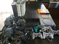 Huge Lot Controllers & Consoles Playstation, PS2 Fat/Slim,NES,XBOX 360,FOR PARTS