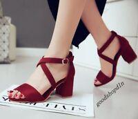 New Womens Shoes Faux Suede Open Toe Cross Strap Block Heels Summer Sandals Size