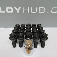 BRAND NEW SET OF BMW 1 SERIES E81,E87,E88 BLACK COATED WHEEL BOLTS & LOCKS NUTS