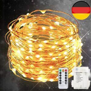 100LED Lichterkette LED Drahtlichterkette mit Fernbedienung Timer Batterie Licht