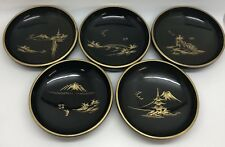 Japanese Black Lacquerware Wood Bowls w/ Gold Scenery; Vintage Set of 5 (RF832)