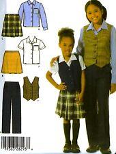 Girls School Uniform Pants Skirt Shirt Vest Sewing Pattern 3-6 Simplicity 4978