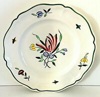 """Longchamp Tulip Dinner Plate 10 1/8"""" Hand Painted France VGUC w/ Crazing 3 Avail"""