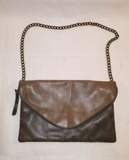 J. CREW Small Brown Distressed Leather Shoulder Purse Chain Strap