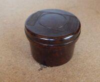 Art Deco Mottled Brown Bakelite screw lidded pot , Cosmetics pin etc 5cm x4cm.p2