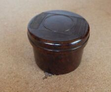 Art Deco Mottled Brown Bakelite screw lidded pot , Cosmetics pin etc 5cm x4cm.p2
