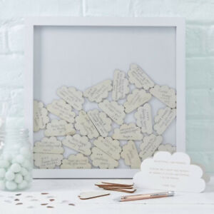 WEDDING BABY SHOWER DROP BOX GUEST BOOK DROP 30 wishes wooden signature clouds