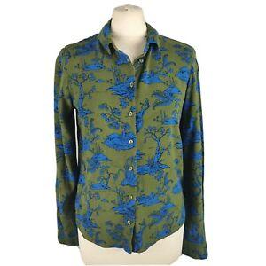 Monki XS 8 10 Blue Green Stag Deer Japanese Tree Print Shirt Blouse Long Sleeve