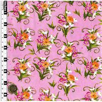 Quilting Fabric Orange White Pink Flowers Pink BG Fat Quarter 100% Cotton