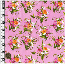 Quilting Fabric Orange White Pink Flowers Pink BG Fat Quarter 100% Cotton