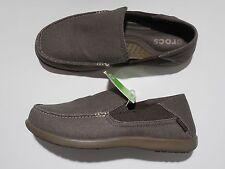 Crocs Santa Cruz 2 Luxe Slip On Shoes 8 Espresso Canvas Triple Comfort NWT