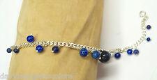 Bracciale in Argento 925 con Sodalite naturale blu - Braccialetto Pietre Dure -