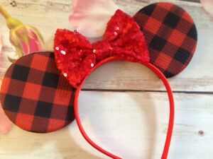Christmas Red Buffalo Plaid Minnie Mouse ears headband- Disneyland- Disney World