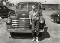 Vintage Photo... Woman Posing by 1940's Chevy Truck ... Photo Print 5x7