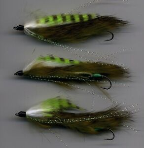 Trout Flies: Snake Fly: Green Assassin Flappers x 3 UK Tied size 8 (code 441a)