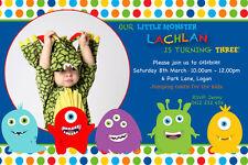 Boy's Personalised Birthday Invitation 1st Birthday Any Age Monsters JPG file