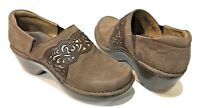 Ariat ATS Studded Clogs Brown Tooled Leather Slip-On Loafer Shoes Women's 9 B