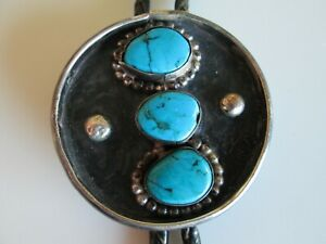 VINTAGE SOUTHWESTERN STERLING SILVER & TURQUOIUSE BOLO TIE