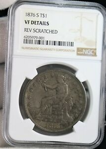 1876-S  Silver Trade Dollar NGC VF DETAILS SILVER COIN RV SCRATCHED