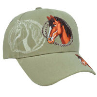 Horse Animal Cap Hat Khaki Cowboy Horseback Riding Polyester Adjustable