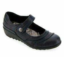 Womens Low Heel Shoes Size 5 Wide Fit Navy Blue Wedge Comfort Cushion Walk NEW