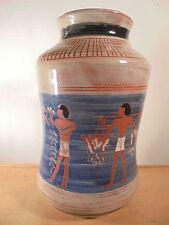 Céramique Vintage 50, Superbe Vase Décor Égyptien Pièce unique signé Vallauris