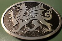 Awesome Antique silver blk color DRAGON Knights Belt Buckle Full Metal US seller