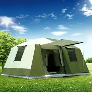 10 Person Travel Large Tent 2 Rooms Capacity Camping Home Family Hiking Tent