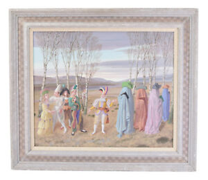 1990 Surreal Painting Harlequins Meeting Robed Cowboys in Woods Claude Harrison